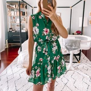 Charles Henry Green Floral Dress